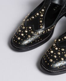 Cut-out leather shoes with studs Black Woman CA8PEU-04