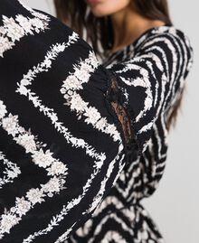 Robe avec imprimé floral à chevrons et dentelle Imprimé Chevrons Noir / Blanc Neige Femme 192TP2520-05