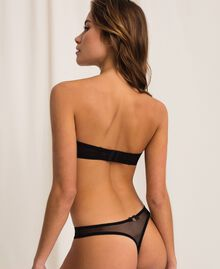 Lace and tulle bandeau bra Black Woman 201LL6211-04