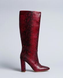 Leather high boots Burgundy Python Woman CA8PLJ-01
