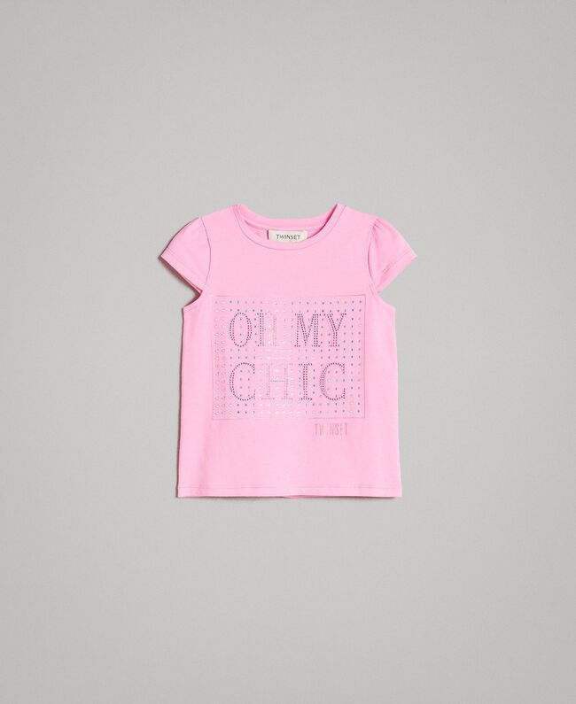 "Stretch cotton T-shirt with rhinestones ""Crystal Pink"" Child 191GB2462-01"