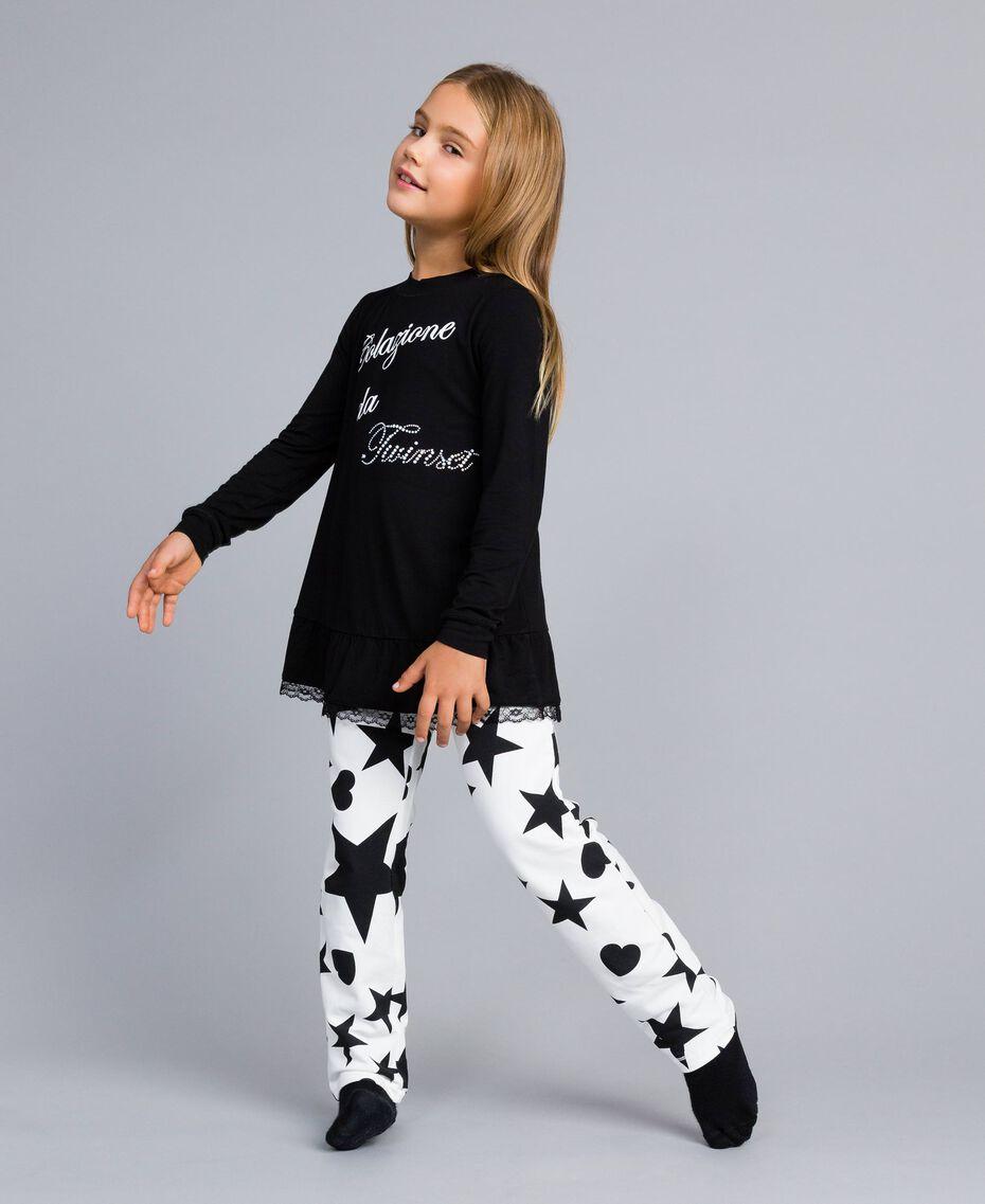 Pigiama in jersey con stelle e cuori Bicolor Nero / Stampa Stelle Bambina GA828E-02