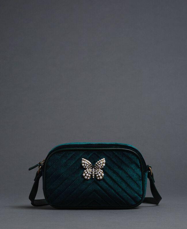 Umhängetasche aus Samt mit Schmetterling Dunkelgrün Frau 192TA7091-03