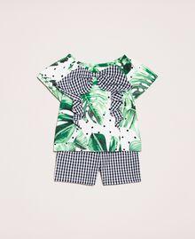 Printed top and gingham shorts Green Polka Dot Tropical Print / Vichy Child 201GB209A-01