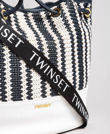 Plaited faux leather bucket bag Indigo Woman 191TO8131-03