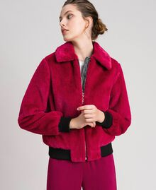 Faux fur bomber jacket Red Amaranth Woman 192MP2042-02