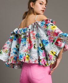 Floral print blouse with flounce All Over Optical White Multicolour Flowers Print Woman 191MT2291-03