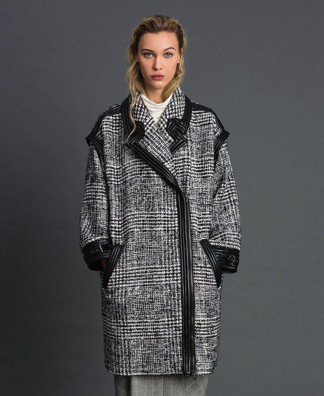 Manteau en drap Prince de Galles Jacquard Neige / Noir Femme 192TT2101-01