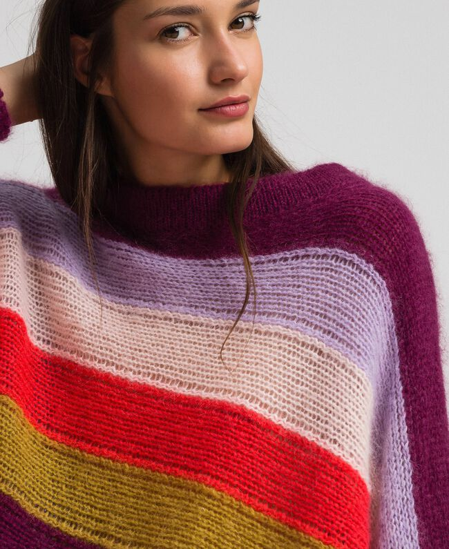 Mehrfarbig gestreifter Pullover aus Mohair Multicolorstreifen Samtrot Frau 192TT3272-05
