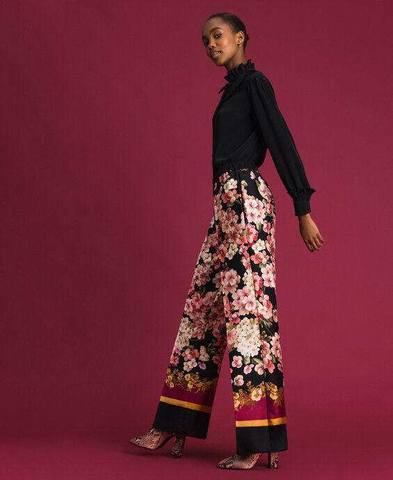 Palazzo trousers with floral scarf print