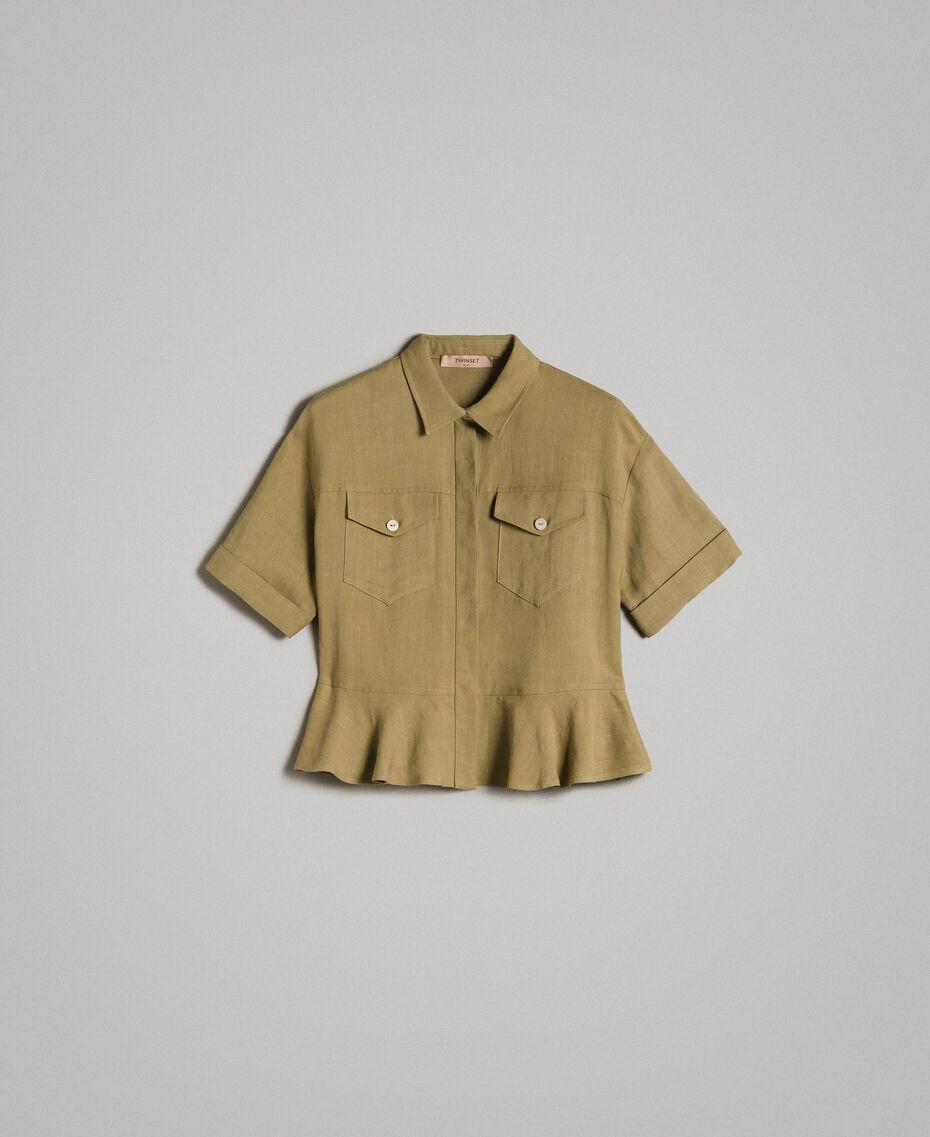 Natural canvas flounce shirt Antique Bronze Woman 191TT2441-0S