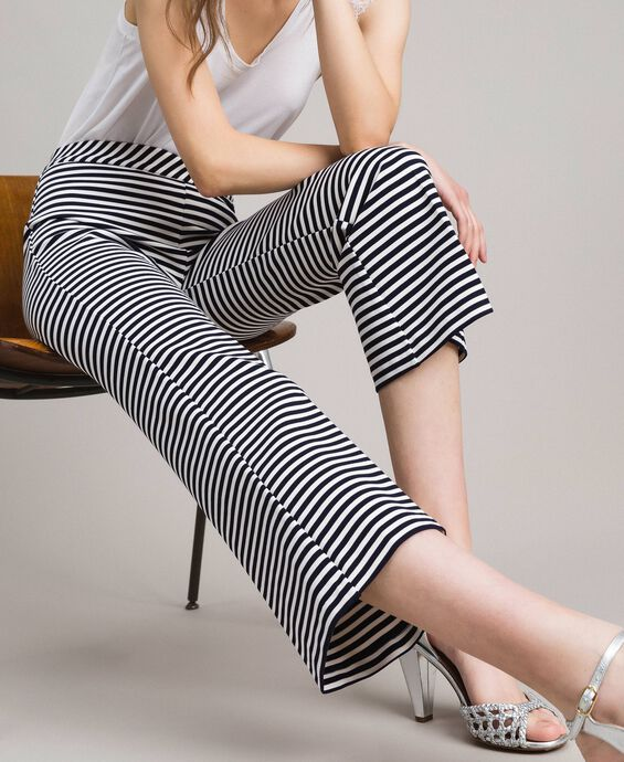 Two-tone striped wide leg trousers