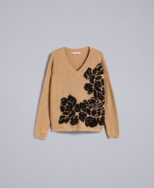 """Zweifarbiger Pullover mit Blumenintarsie Zweifarbig """"Cookie""""-Beige / Schwarze Blume Frau TA8393-0S"""