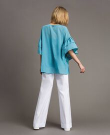 Wide sleeve blouse with flounce Daylight Blue Woman 191LM2HCC-03