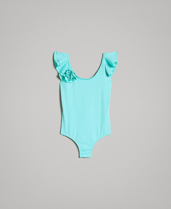 One-piece swimsuit with flower