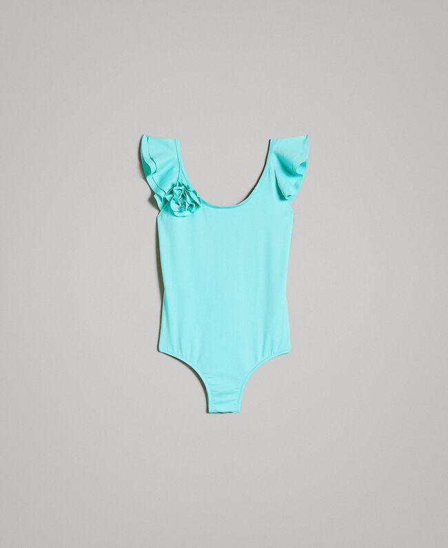 """Einteiliger Badeanzug mit Blume """"Island Paradise"""" Hellblau Kind 191GJM906-01"""