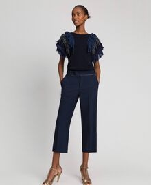 Cigarette trousers in technical wool Midnight Blue Woman 192TT2458-02