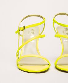 Fluorescent faux leather high heel sandals Fluorescent Yellow Woman 201MCT020-03