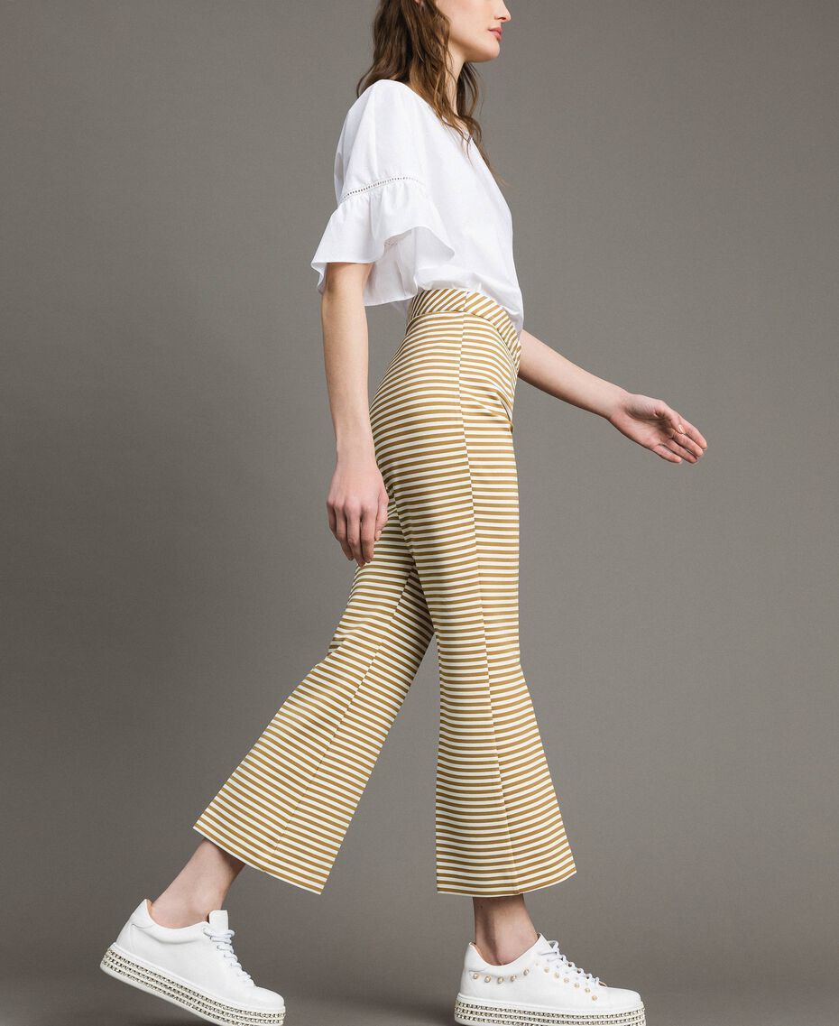 Two-tone striped wide leg trousers Blue Shadow / Off White Striping Woman 191ST2035-02