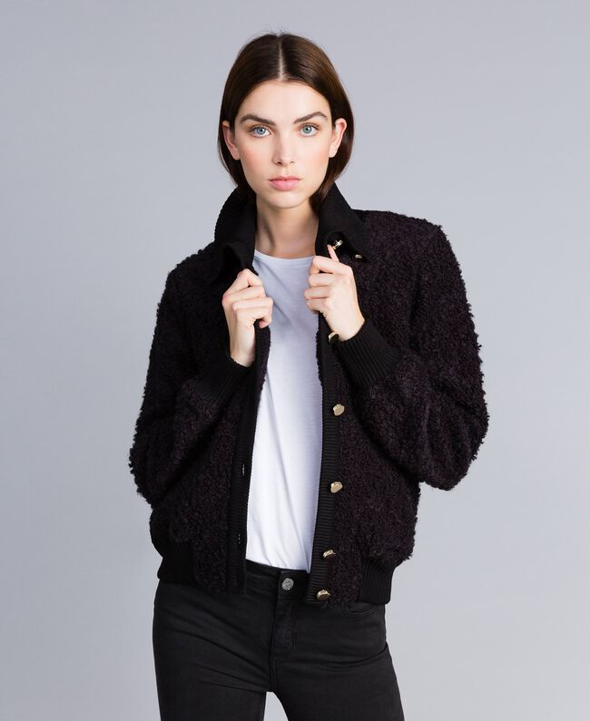 Wool blend bouclé bomber jacket Black Woman IA87DD-01