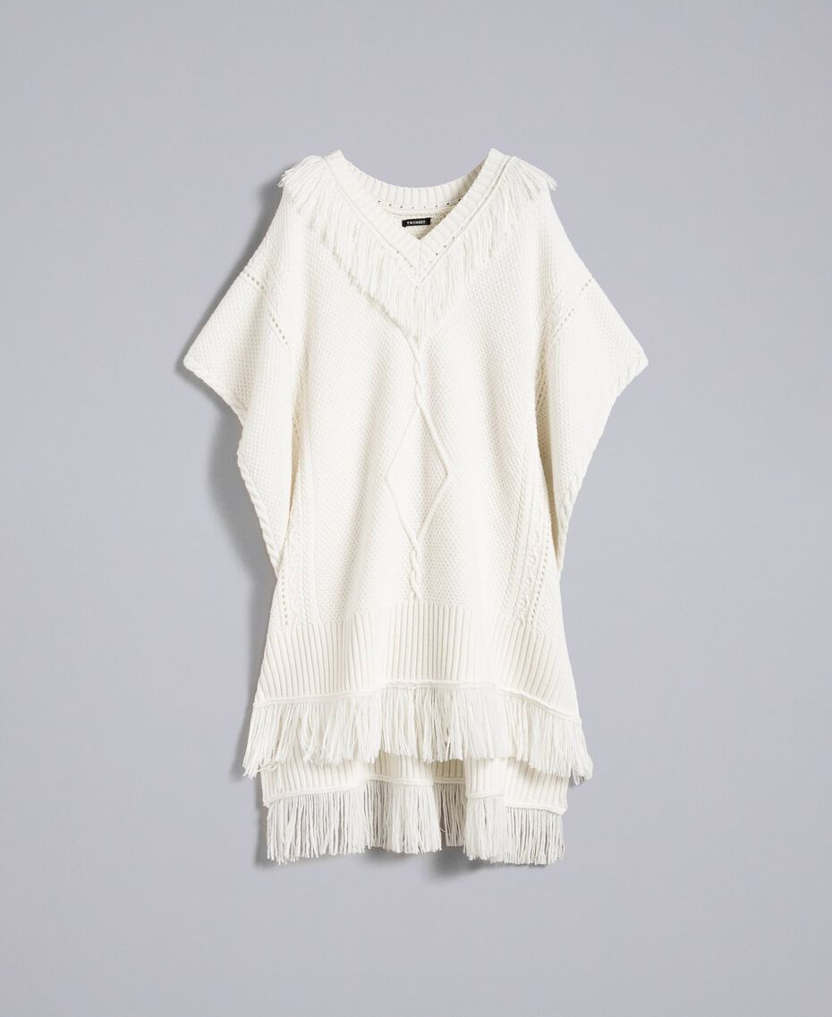 Knitted poncho with fringes White Snow Woman PA83LN-0S