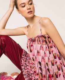 """Printed georgette top with micro frills """"Candy"""" Pink Geometric Print Woman 201ST2184-05"""