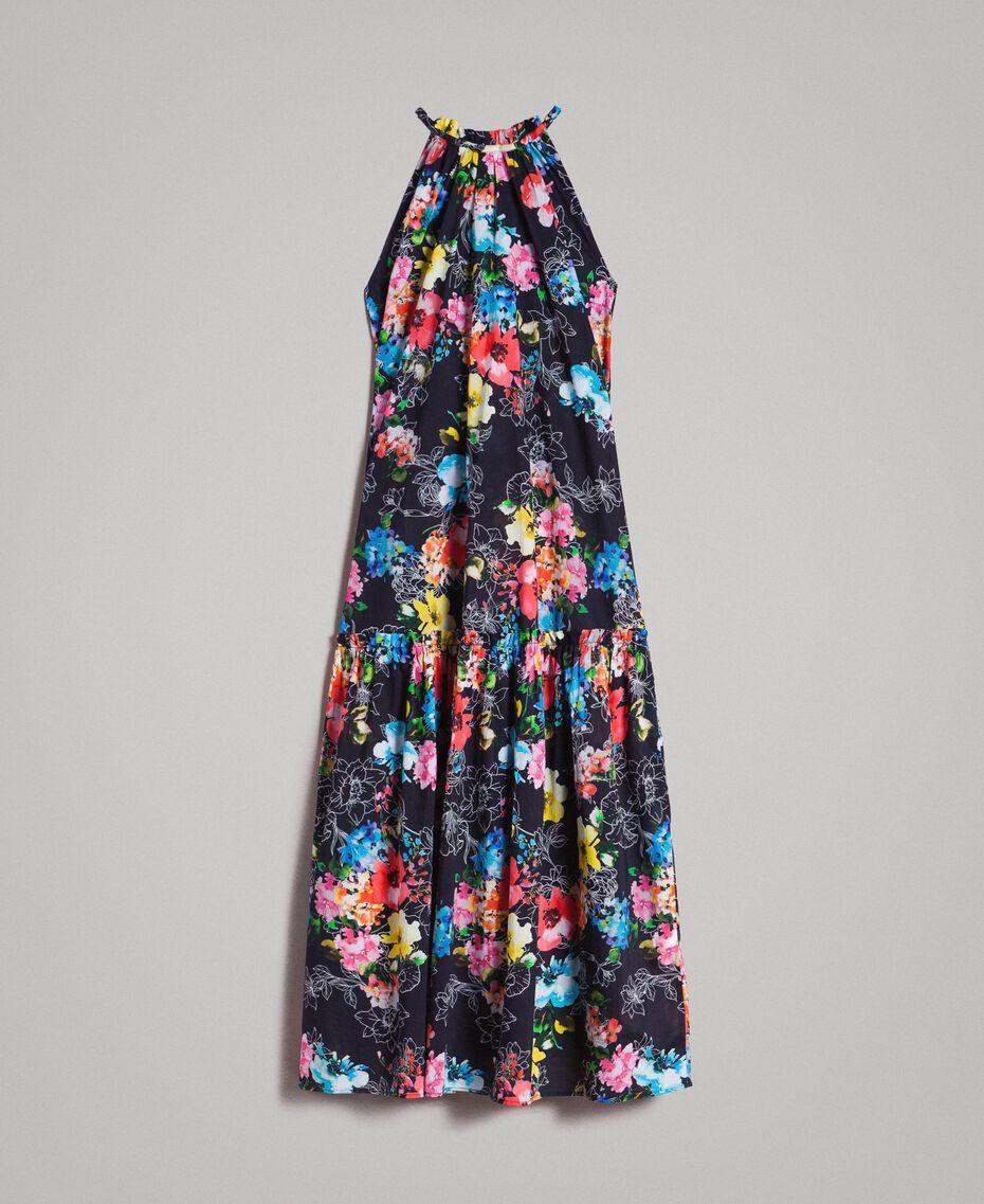 Maxikleid mit Blumenprint und Neckholder All Over Black Multicolour Flowers Motiv Frau 191MT2294-0S
