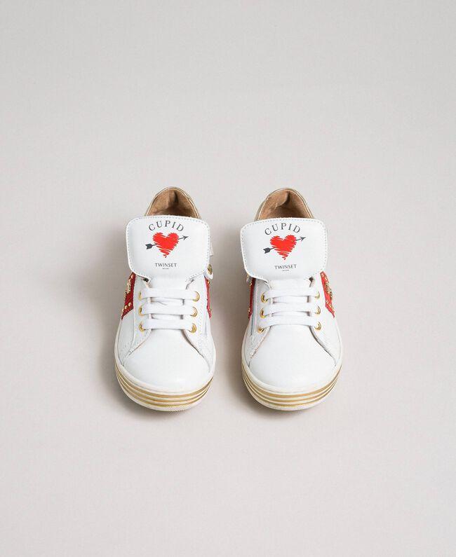 Baskets en cuir avec cœurs et clous Blanc Enfant 192GCJ012-04