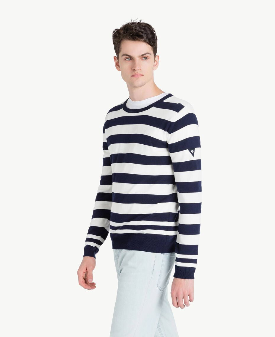 Pull rayures Bicolore Blanc Opaque / Bleu Blackout Homme US8317-02