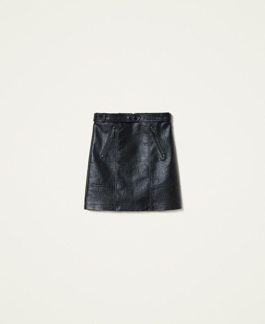 Minigonna con zip Nero Donna 212AP2372-0S