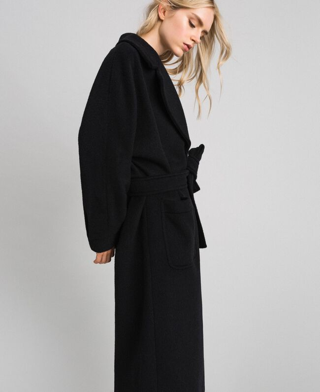 Long wool cloth coat Black Woman 192TT2600-03