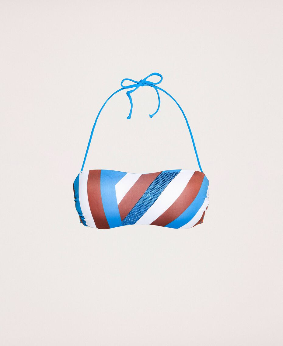 "Bandeau bikini top with rhinestone band Multicolour ""Bay"" Blue / ""Choco"" Brown / Optical White Woman 201LMMF11-0S"
