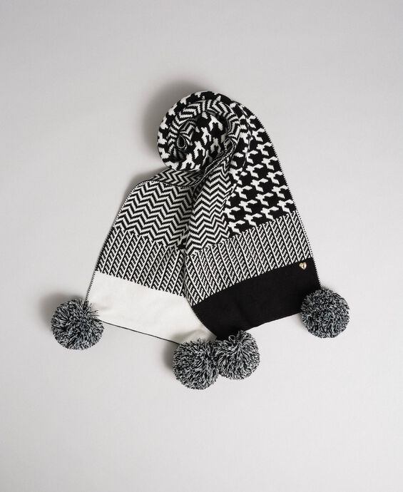 Jacquard knit scarf with pompom
