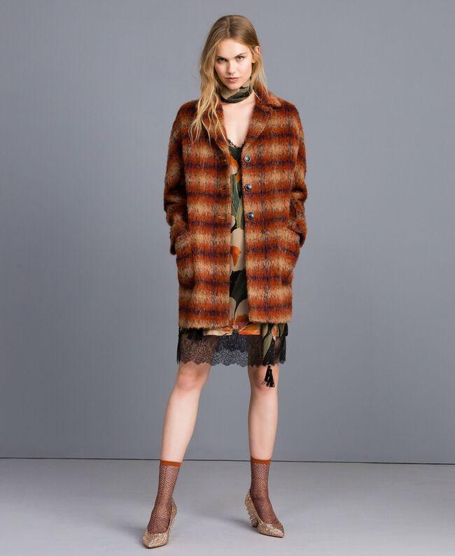 Manteau en drap à carreaux Jacquard Carreaux Déchiré Marron Femme TA821J-01