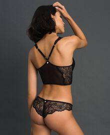 Bustier rembourré en dentelle et tulle Noir Femme 192LL6C11-03