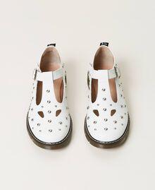Studded leather ballerina shoes White Snow Child 211GCJ130-05