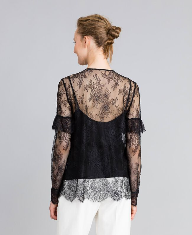 Camicia in pizzo Valencienne multicolor Nero Donna PA82FR-03