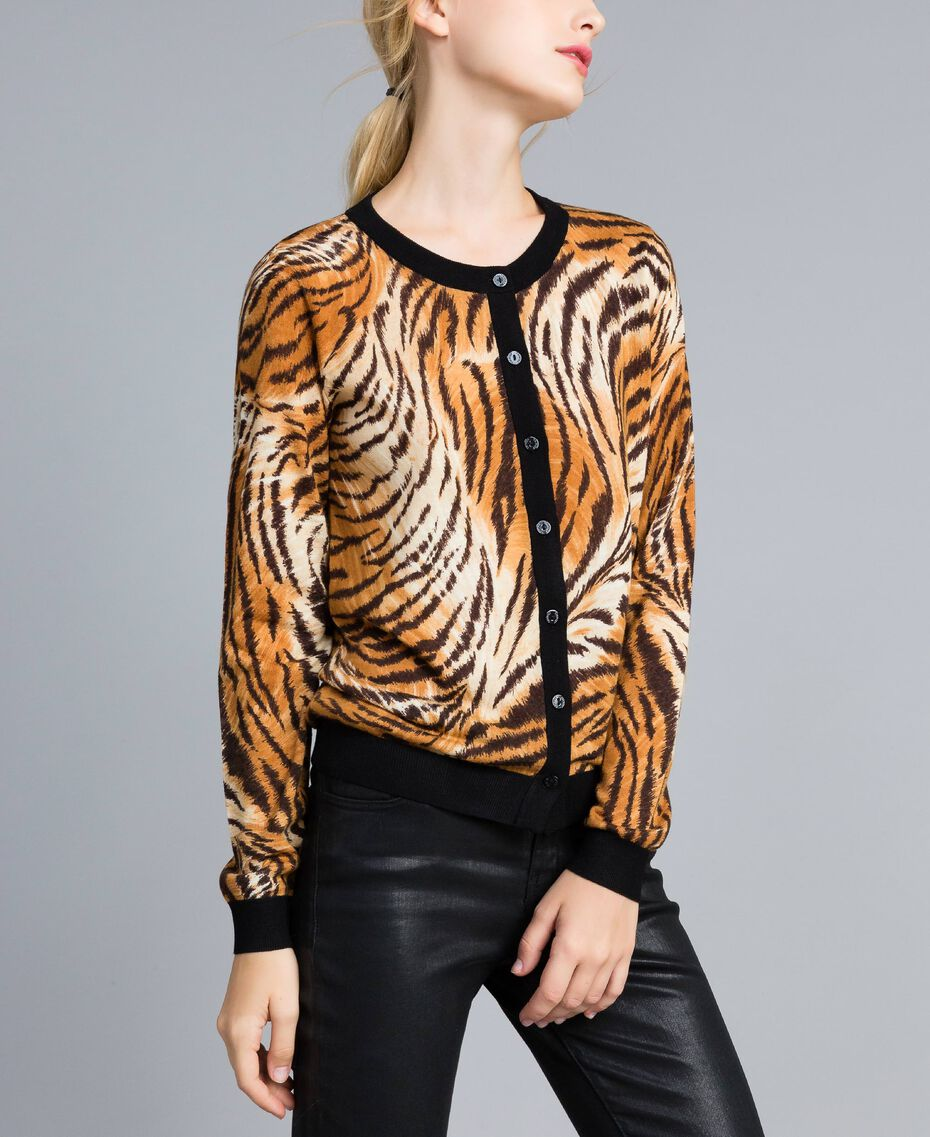 Printed wool mandarin collar top Plain Tiger Print Woman TA83DU-02