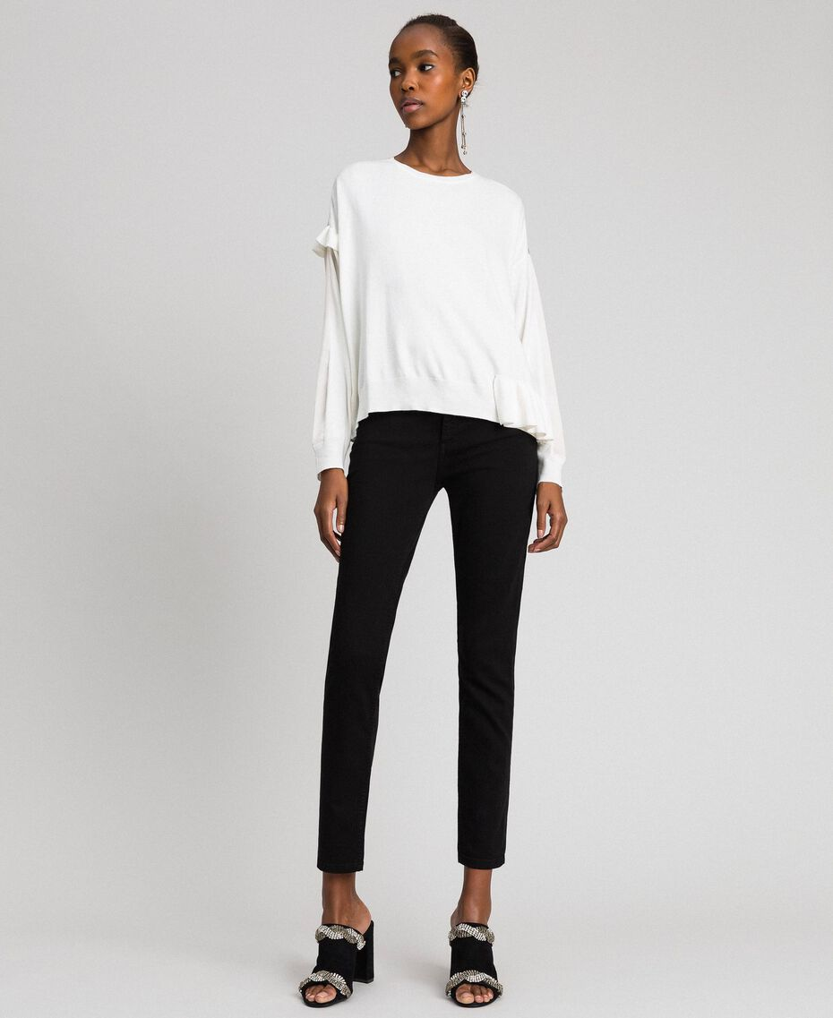 Boxy jumper with asymmetric flounce Vanilla White Woman 192MP3193-0T