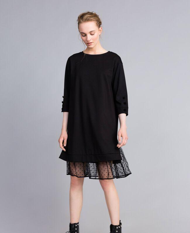 Kleid aus Interlock-Jersey mit Flockknöpfen Schwarz Frau PA82BP-01