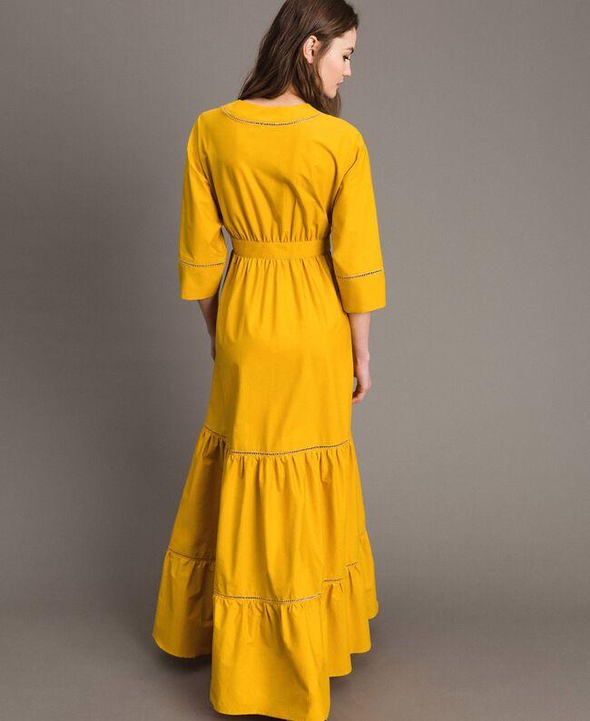 "Poplin long dress with hemstitch ""Honey Gold"" Woman 191TT2241-05"