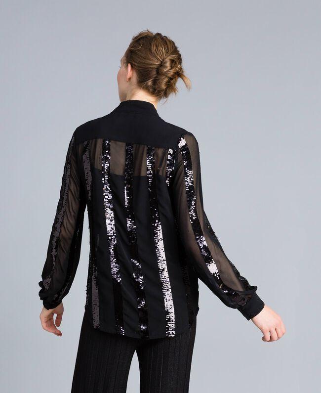 Chemise en crêpe georgette avec paillettes Noir Femme PA82J2-04