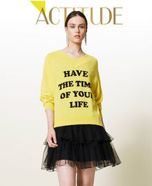 Maxi pull et robe nuisette en tulle Bicolore Jaune Sunny / Noir Femme 212AP3120-01