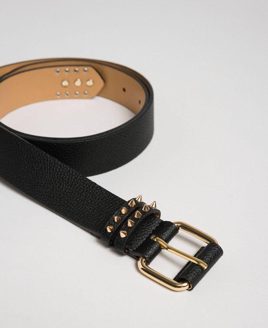 Studded leather belt, regular Black / Leather Woman 192TA4305-03