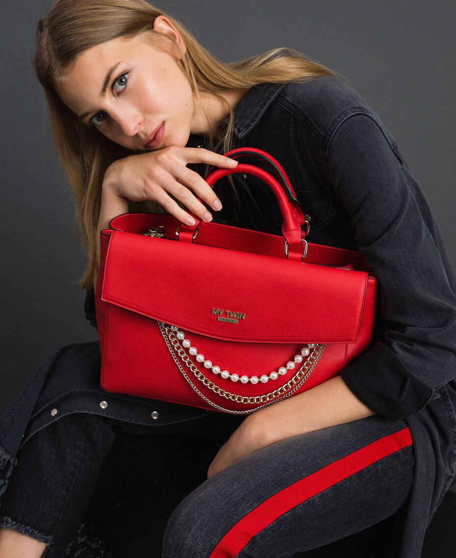 Borsa shopper in similpelle con perle e catene Rosso Papavero Donna 192MA7053-0S