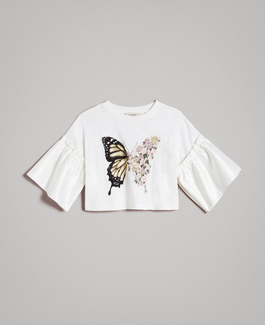 T-shirt en jersey avec volants en satin Off White Enfant 191GJ2402-01
