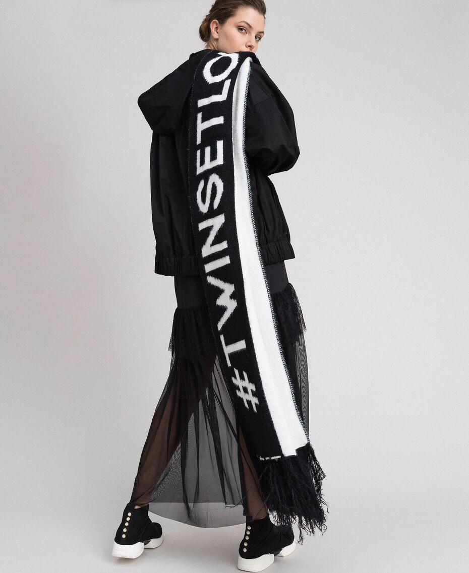 Zweifarbiger Schal in Pelzoptik Schwarz / Elfenbein Frau 192LI4ZMM-0S