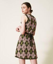 Robe jacquard «Coltan» à carreaux Multicolore Vert «Amazonie» / Rose «Wood Rose» Femme 212AP3234-03