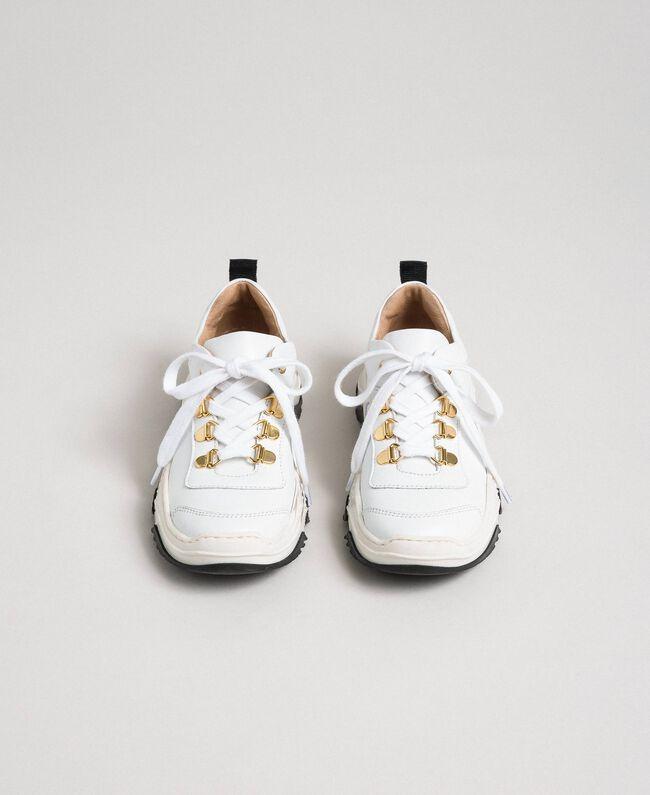 Sneakers in pelle Bianco Bambina 192GCJ028-04