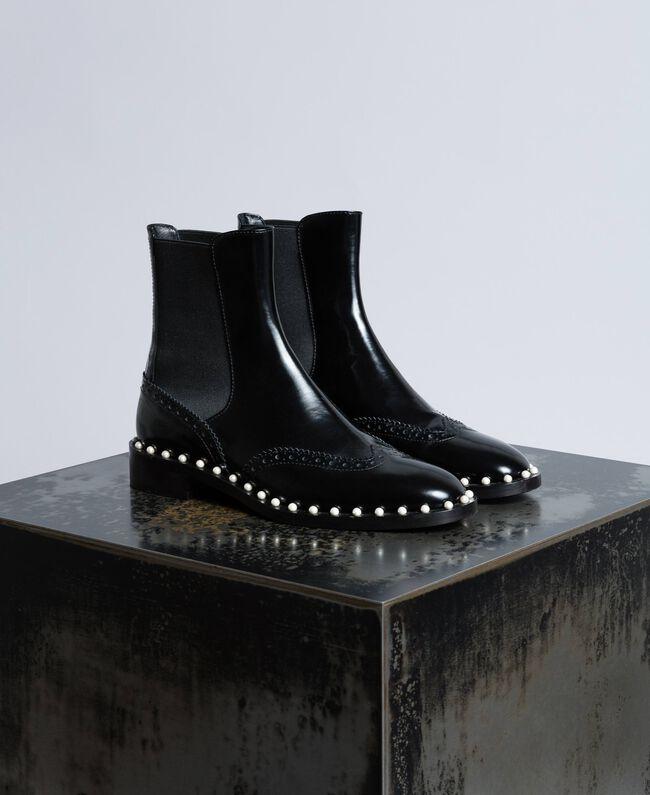 Кожаные ботинки-челси с жемчужинами Черный женщина CA8PKN-01